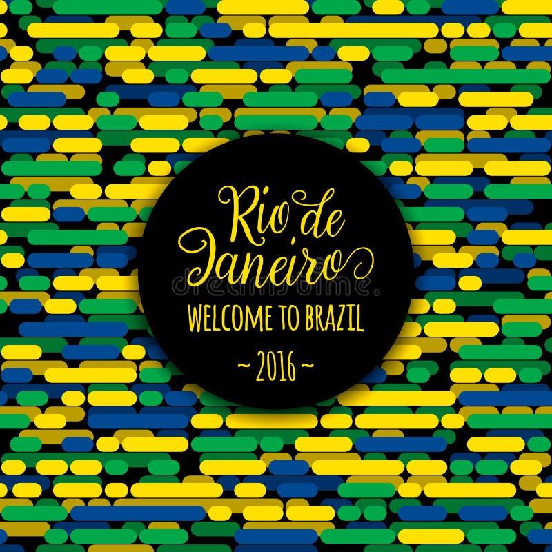 Rio de Janeiro för tecken för text för bokstävermotivationcitationstecken välkomnande till Brasilien 2016 Mallgratulationkort, af vektor illustrationer
