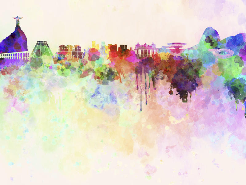 Rio de Janeiro horisont i vattenfärgbakgrund vektor illustrationer