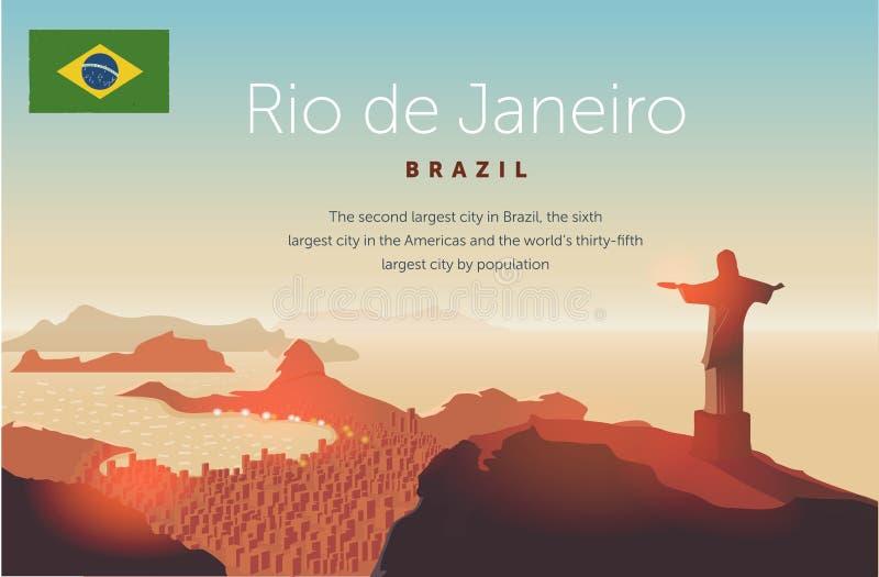 Rio de Janeiro horisont Statylöneförhöjningar ovanför den brasilianska staden Solnedgånghimmel över den Copacabana stranden också vektor illustrationer