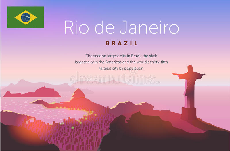 Rio de Janeiro horisont Statylöneförhöjningar ovanför den brasilianska staden Solnedgånghimmel över den Copacabana stranden också royaltyfri illustrationer