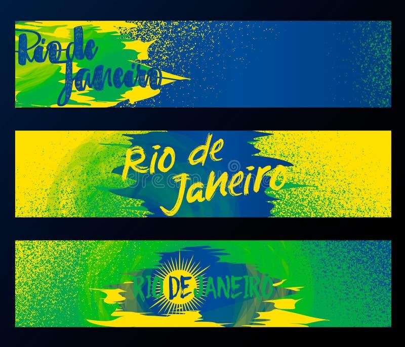 Rio de Janeiro 2016, horizontale Fahnen, Plakatschablonensatz lokalisiert auf schwarzem Hintergrund mit Gummi, Fleckabstriche lizenzfreie abbildung