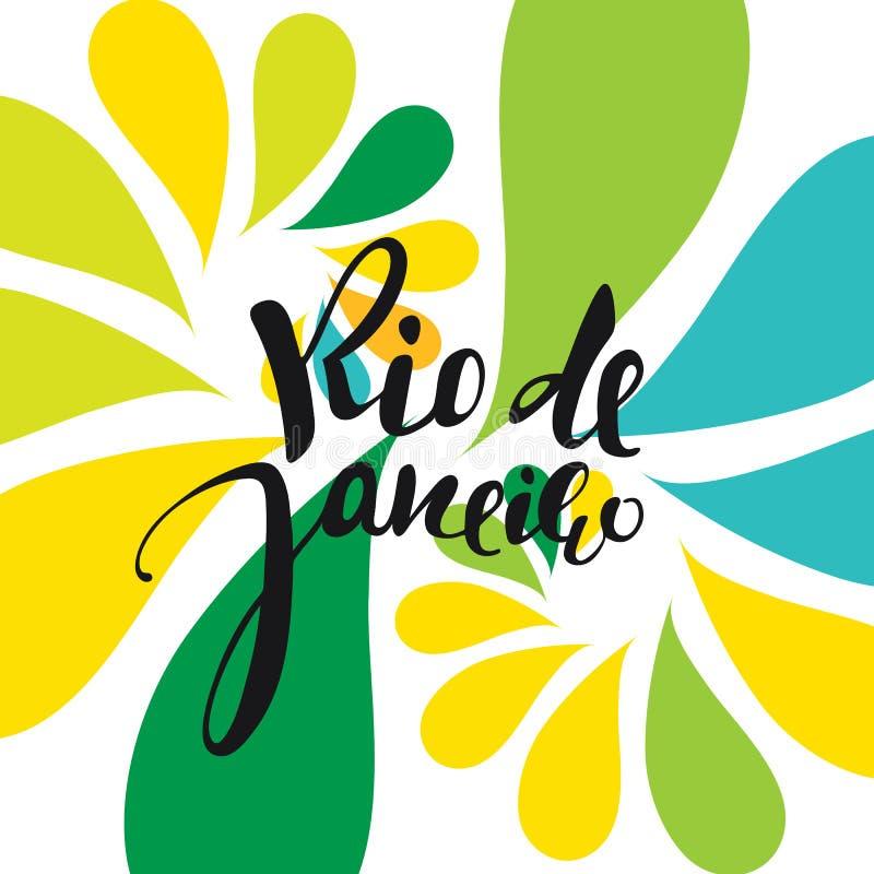 Rio de Janeiro-inschrijving, achtergrondkleuren van de Braziliaanse vlag stock illustratie