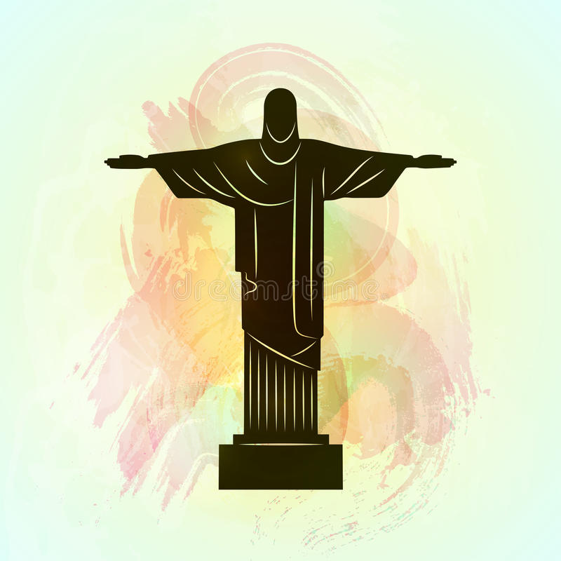Rio De Janeiro jezus chrystus odkupiciel statua ilustracji