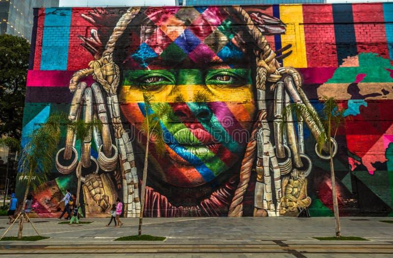 Rio de Janeiro - 21 juin 2017 : Art ethnique de rue de l'artiste Eduardo Kobra en Rio de Janeiro, Brésil photographie stock