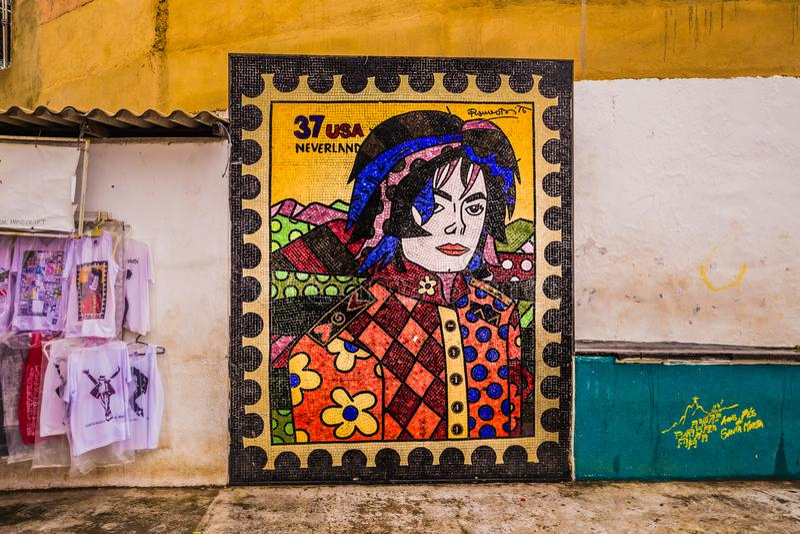 Rio de Janeiro - Juni 21, 2017: Michael Jackson-kunst in favela van Santa Marta in Rio de Janeiro, Brazilië royalty-vrije stock afbeeldingen