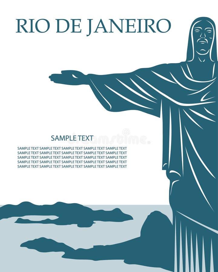 Rio de Janeiro kort med den Jesus Kristusstatyn vektor illustrationer