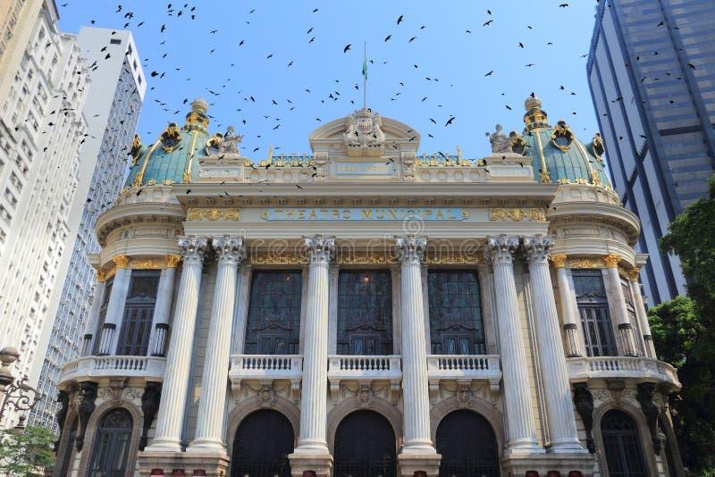 Rio de Janeiro. Landmark - municipal theatre. Brazil architecture royalty free stock image