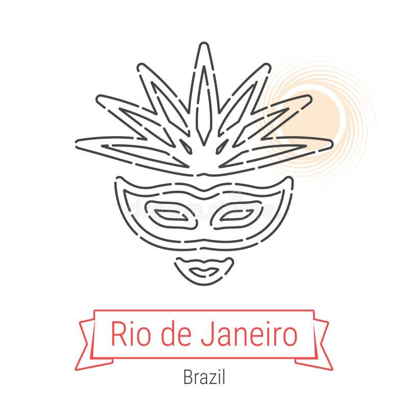Rio de janeiro, linha ícone do vetor de Brasil ilustração stock