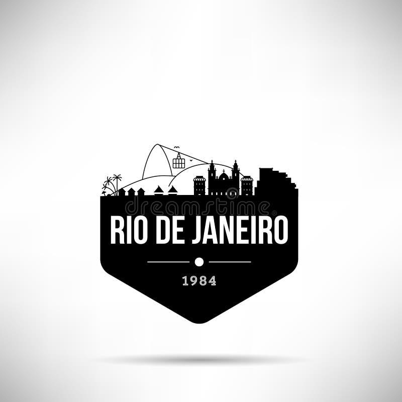 Rio De Janeiro miasta linia horyzontu wektoru Nowożytny szablon royalty ilustracja