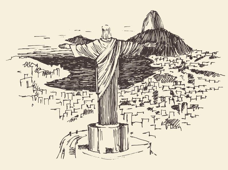 Rio De Janeiro miasto, Brazylia Grawerował ilustrację ilustracja wektor
