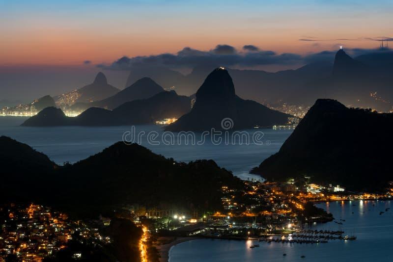 Rio de Janeiro Mountains at Night royalty free stock photography