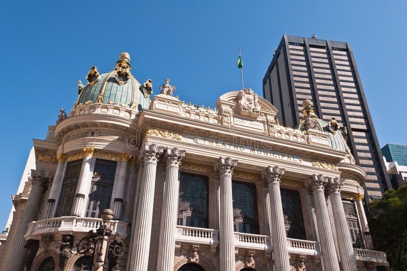 Rio de Janeiro Municipal Theatre. In city downtown stock photos