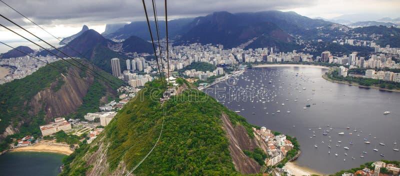 Rio De Janeiro, najlepszy odgórny widok Brazylia dzisiaj Sugarloaf obrazy stock