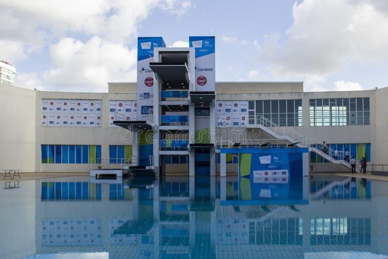 Rio de Janeiro 2016 olympiska mötesplatser: Maria Lenk Aquatic Center arkivfoton