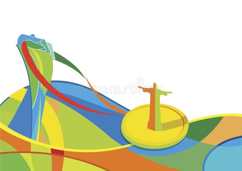Rio de Janeiro 2016 olympiska vektor Hållande guldmedalj för hand abstrakt färg vektor illustrationer