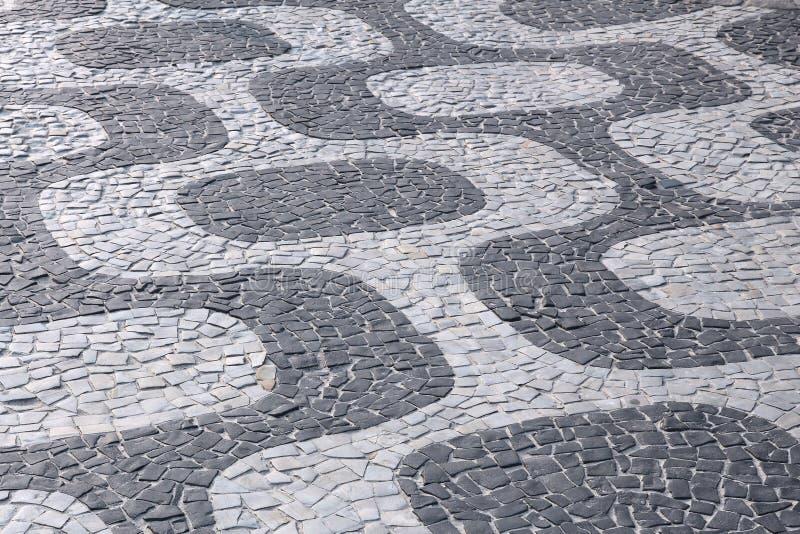 Rio De Janeiro pattern. Brazil - Rio de Janeiro. Ipanema sidewalk pattern background stock photos