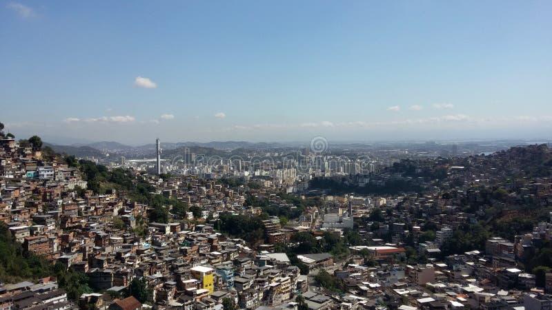 Rio de janeiro, RJ, Brasil - 24 de agosto de 2016 - vista aérea do favela fotografia de stock royalty free
