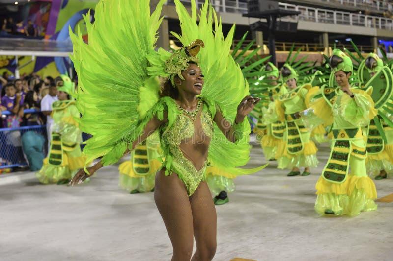 Carnival 2018 – Rensacer de Jacarepagua. Rio de Janeiro, RJ/Brazil - february 09, 2018: Samba School parade in Sambodromo. Rensacer de Jacarepagua during royalty free stock images