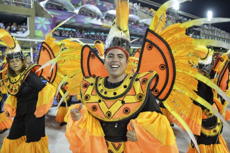 Carnival 2018 – Rensacer de Jacarepagua. Rio de Janeiro, RJ/Brazil - february 09, 2018: Samba School parade in Sambodromo. Rensacer de Jacarepagua during stock images