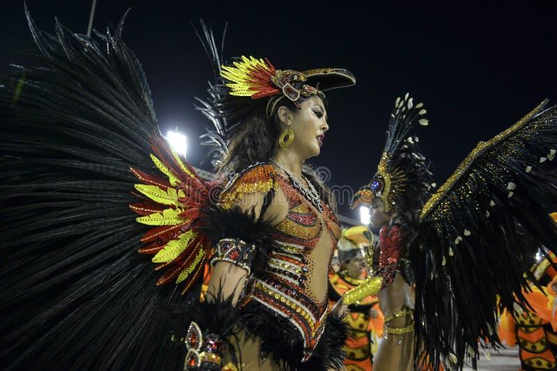 Carnival 2018 – Rensacer de Jacarepagua. Rio de Janeiro, RJ/Brazil - february 09, 2018: Samba School parade in Sambodromo. Rensacer de Jacarepagua during royalty free stock image