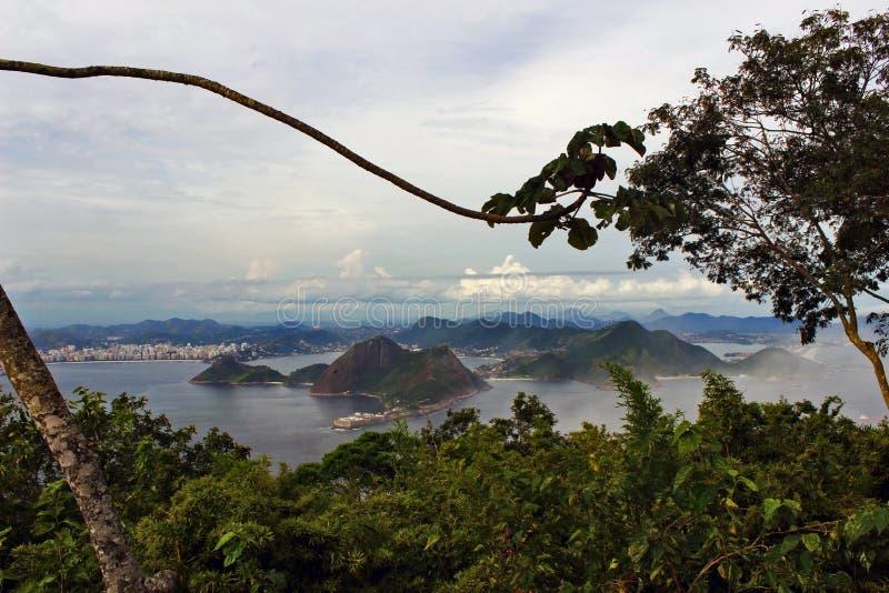Rio de Janeiro sikt från det Sugarloaf berget royaltyfria bilder