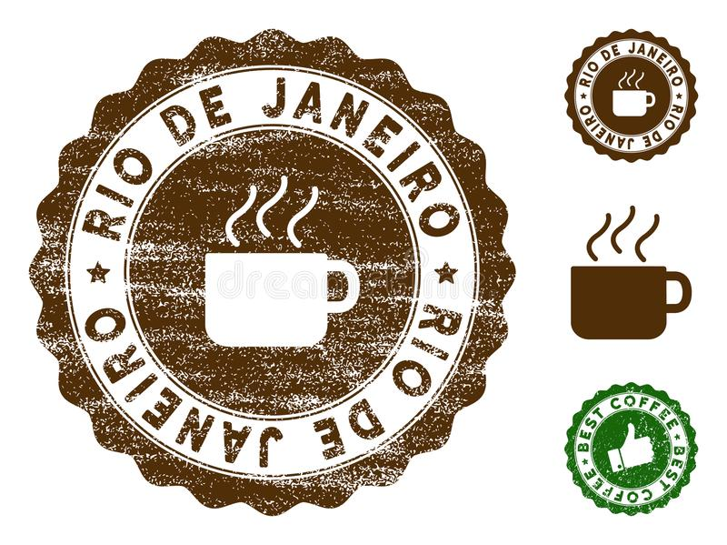 Rio De Janeiro Medallion Stamp Vector Seal Print Imitation With Grunge Surface And Coffee Color Brown Rubber Design Of