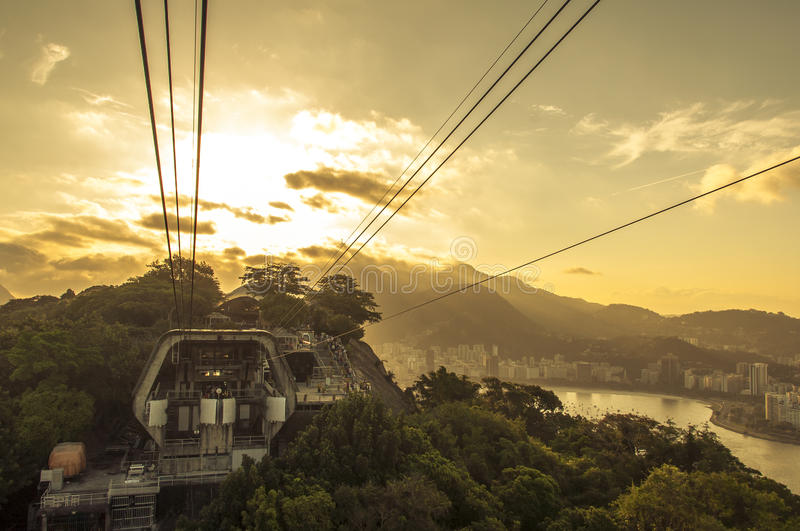 Rio De Janeiro Sunset From The Sugarloaf Mountain Royalty Free Stock Images