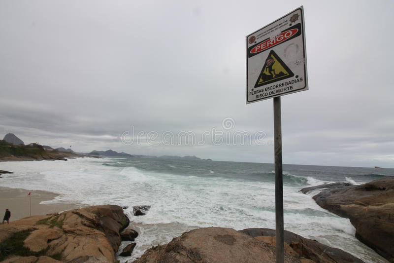 Rio De Janeiro szorstkich morza na kac dniu fotografia royalty free