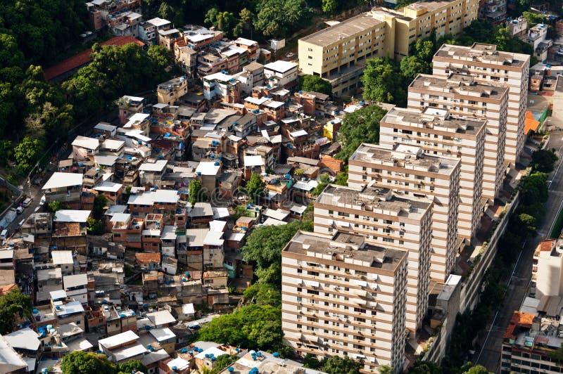 Rio de Janeiro Urban Contrast. Rio de Janeiro Urban Area view from above. Apartment Buildings with Slums next to them royalty free stock images