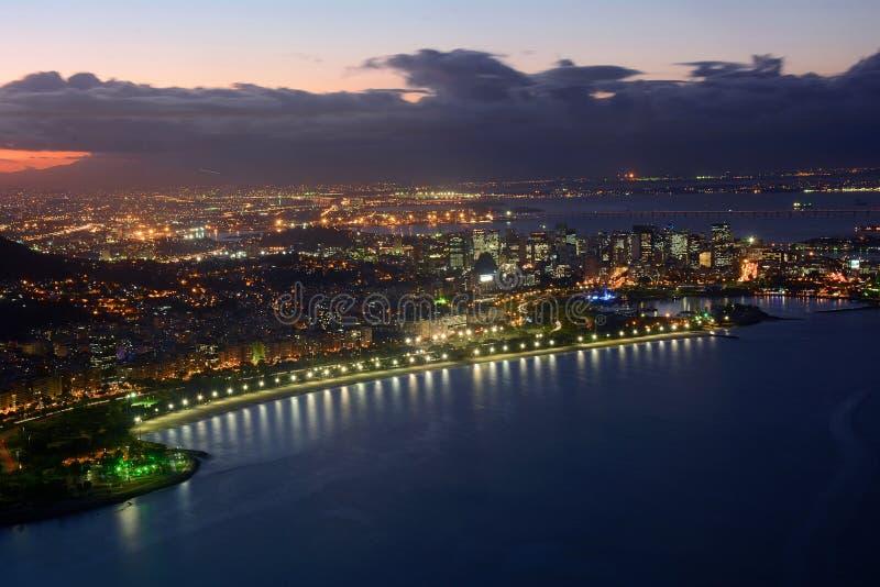 Rio de Janeiro view at night. royalty free stock photos