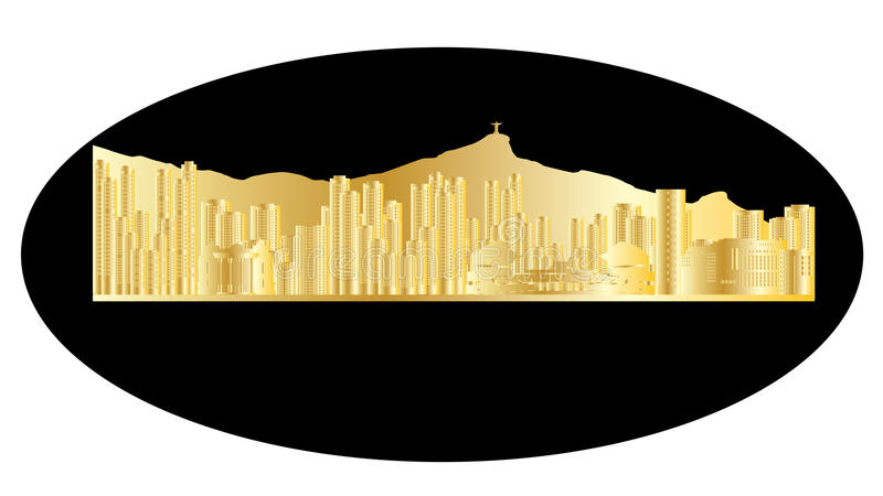 Rio De Janeiro złota linia horyzontu ilustracji