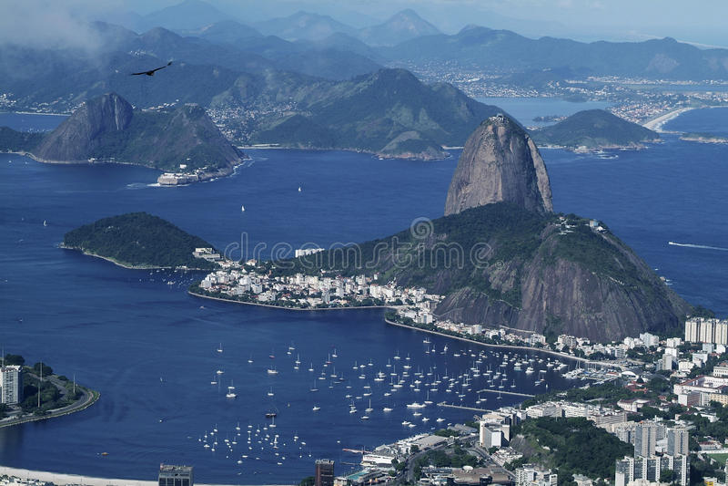 Rio- de Janeiround Sugarloaf Panorama vew stockfotografie