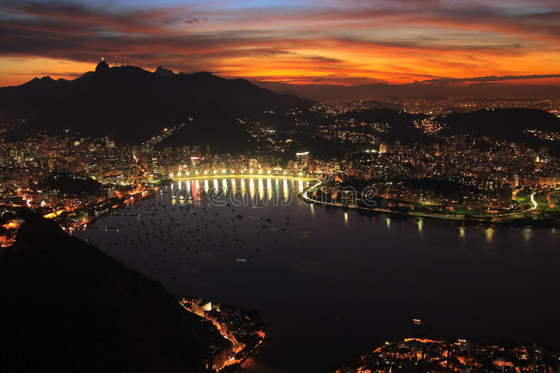 Rio de Janerio city night sunset. Night, evening view from sugar loaf mountain of Rio de janerio bay as sun sets over the city stock photography