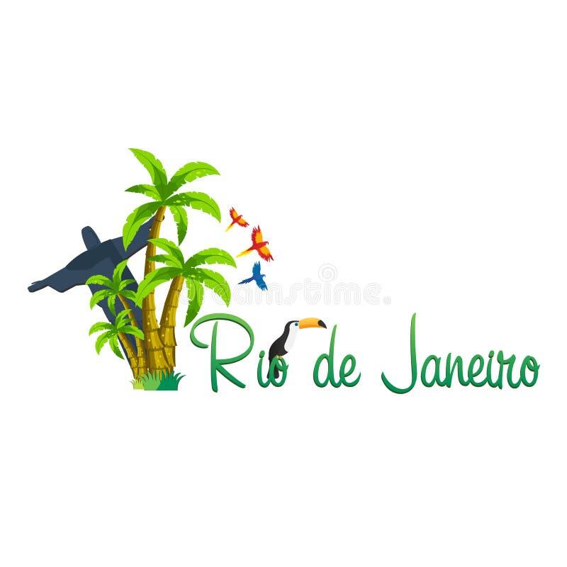 Rio De Jeaneiro logo Podróż w Brasil 3 d formie wymiarowej Amerykę wspaniałą na południe ilustracyjni trzech bardzo tukan Trzy pa ilustracja wektor