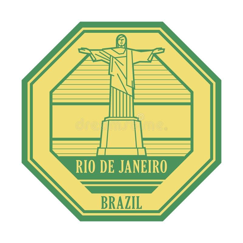 Rio de Jeneiro, de zegel van Brazili? royalty-vrije illustratie