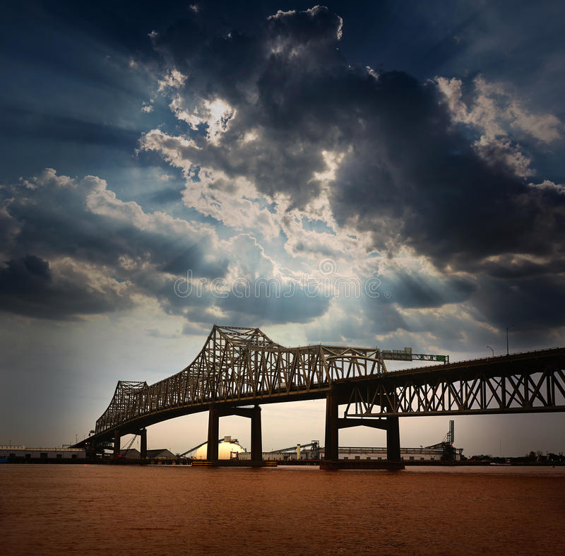 Rio de Louisiana Horace Wilkinson Bridge Mississippi fotos de stock royalty free