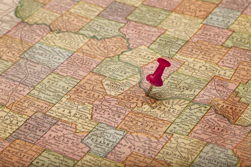 Rio de Missouri no mapa do vintage fotos de stock