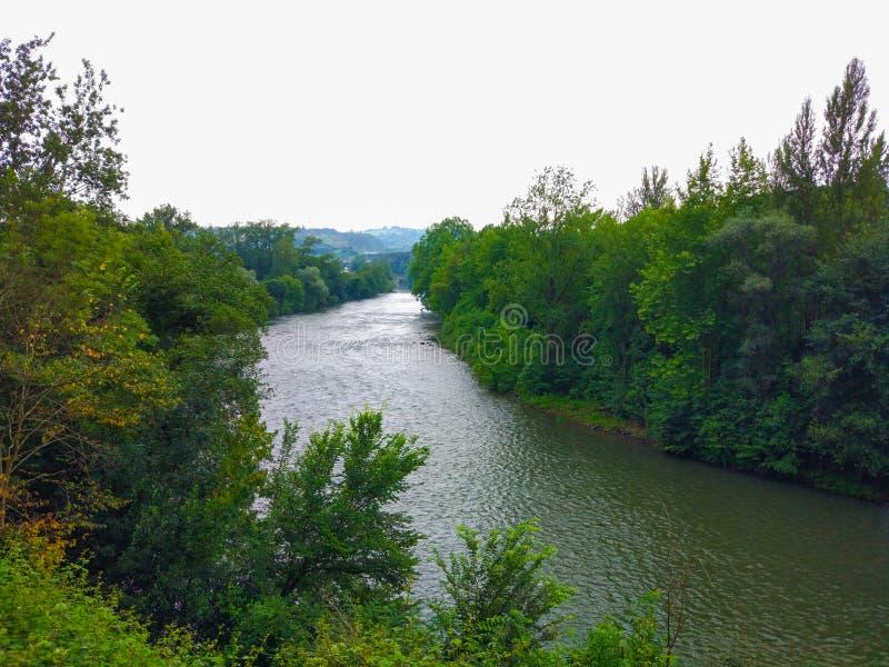 Rio de Nalon entre a floresta verde completamente das árvores, nas Astúrias, termas imagens de stock royalty free