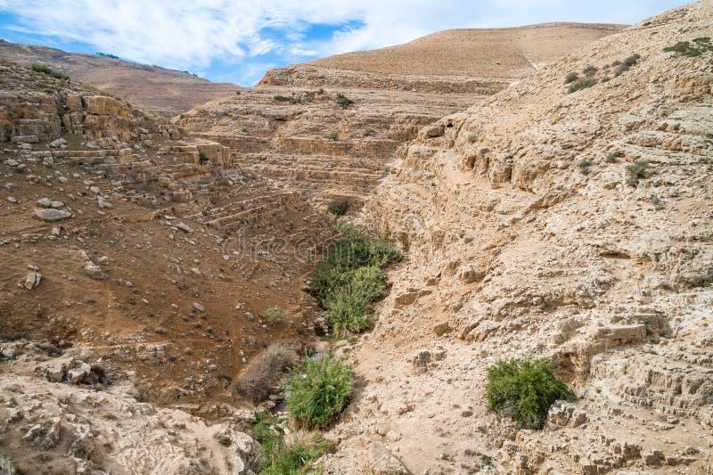 Rio de Prat em Israel Vale de Wadi Qelt no Cisjordânia fotografia de stock royalty free