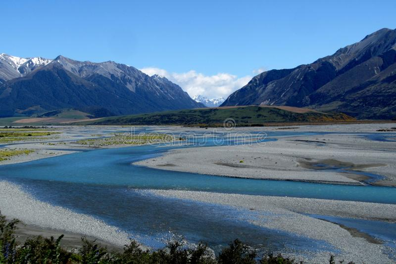 Rio de Rakaia, Nova Zelândia imagens de stock royalty free