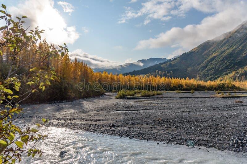 Rio de ressurreição na Exit Glacier, Parque Nacional Kenai Fjords, Seward, Alaska, Estados Unidos fotos de stock