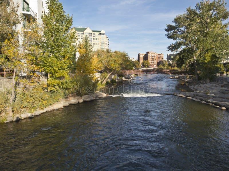Rio de Truckee em Reno da baixa, Nevada fotografia de stock royalty free