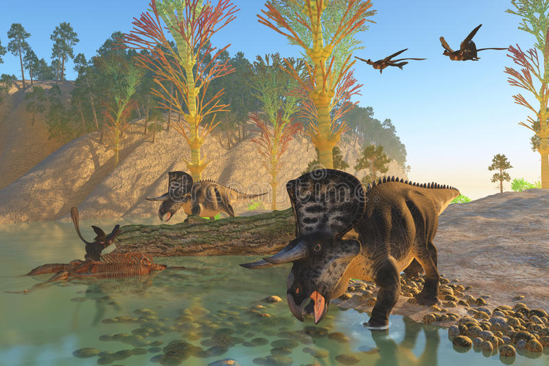 Rio de Zuniceratops ilustração do vetor