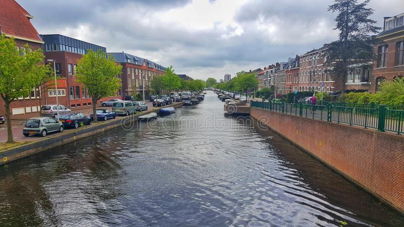 Rio do canal, Leiden foto de stock
