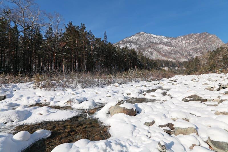 Download Rio do inverno foto de stock. Imagem de madeiras, montanhas - 26510582