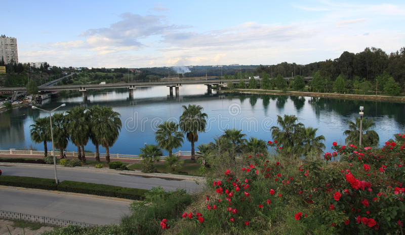 Rio em Adana, Turquia de Seyhan. imagem de stock royalty free