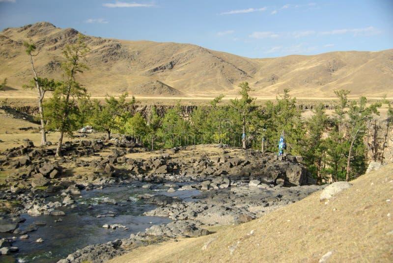 Rio em Mongolia foto de stock royalty free