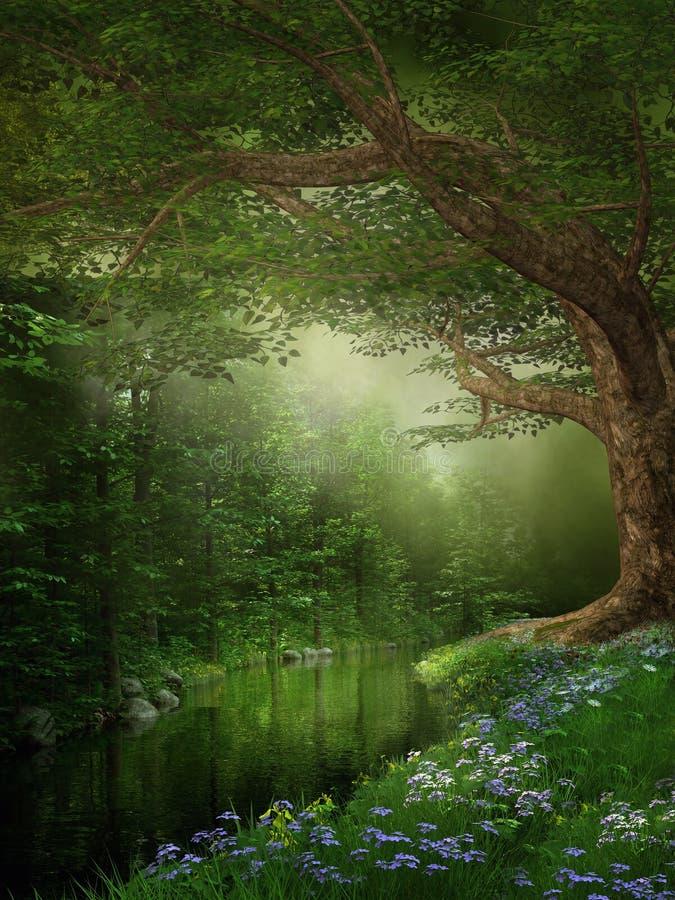 Rio em uma floresta ilustração do vetor