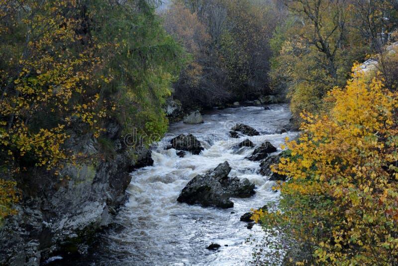 Rio escocês das montanhas no outono imagem de stock