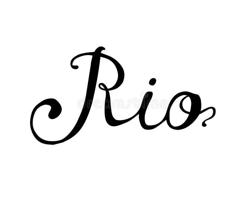 rio för försäljningsvektor för hand skrivet nytt ord svart white royaltyfri illustrationer